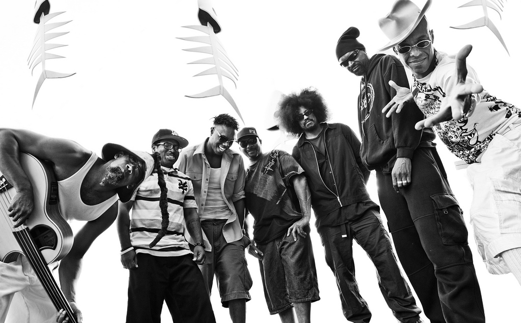 "Fishbone (L-R): John Norwood Fisher, Jay Armant, Dre Gipson, John ""Wet Daddy"" Steward, Rocky George, Walter ""Dirty Walt"" Kibby, Angelo Moore"